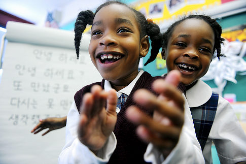 Two kids attending the Bronx Charter School for Better Living