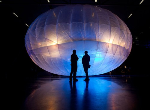 Google Project Loon balloon on display at Airforce Museum in Christchurch